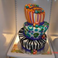 Topsy Turvy This cake was for a 30th birthday...3 tiered stacked, chocolate cake, chocolate ganche, iced in buttercream and with fondant detail. This...