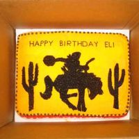 Wild West Birthday Cake This was for my son's third birthday. He is horse, rodeo, cowboy crazy. The invitations had the cowboy on the bucking horse and the...