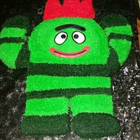 Yo Gabba Gabba Brobee  Here is one of the cutest cakes I think I've ever made, and Fun, Fun Fur, Fun used tip #233/Wilton..lots of work but it went by...
