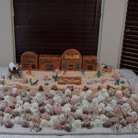 Wild Wild West And Lots Of Cake Balls! This is a very large cake for an annual party with over 150 people. The theme this year was the Wild Wild West. Town buildings are...