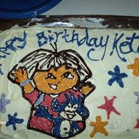 Dora Cake This was a Dora cake for my daughter's 1st birthday. Sort of a rush job, and I couldnt get the icing smooth because the cake was...