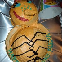 Miss Spider First attempt at a two layer cake for a friend's daughter's birthday party. I dont really like the way the nose turned out.