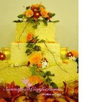 Fall Wedding Cake Three tier square buttercream cake with gumpaste flowers
