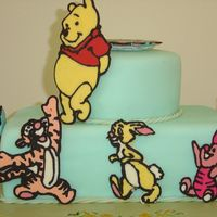 Winnie-The-Pooh And Friends I made the characters out of chocolate, using clipart downloads as templates. they are simly propped onto a fondant covered cake.