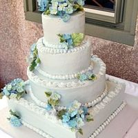 Summer Wedding a wedding cake I made for a friend last summer (before the heat melted it). buttercream, with gumpaste hydrangeas.