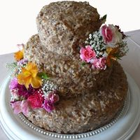 German Chocolate Wedding Cake This was my first german chocolate cake. I was worried about the icing sliding off-especially since it was warm and humid inside the church...