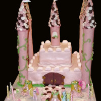 Pink Castle Cake This is made with marshmallow fondant, using pink marshmallows. We cut some of the marshmallows in half and used them around the top of the...