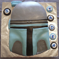 Jango Fett Helmet Cake Marshmallow fondant with buttercream icing underneath.