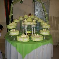 Lime Green Sweet 15Th  3 flavors cakes mocha w/mocha filling 3 milks,vanilla w/peaches filling 3 milks, and orenge cake w/coconut & pineapple filling and...