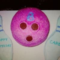 Bowling For Birthday!  This one was made for a little girl's bowling themed birthday party. The ball was made using the Wilton sport ball pan and was a...