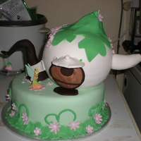 Tinkerbell's Teapot House Cake Teapot made using 3D sports ball pan, first time using this pan and I put it on the bottom cake at its weakest point so it leans and didnt...