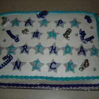 Nick's Birthday Cake A cake I made for my cousin's birthday. It was a lot of fun -- chocolate cake with buttercream icing, fondant accents, and some ribbon...