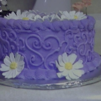 Purple Birthday Cake Quick cake I made for my sister's 21st birthday Yellow Cake with BC and Gumpaste daisies.