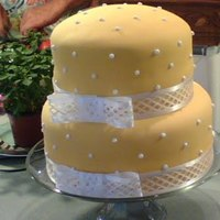 "Shannon Yellow Yellow swiss dot cake. 10"" and 8"""