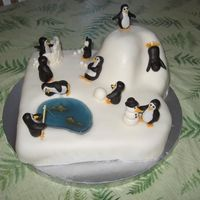"Penguin Party Girls penguin birthday party cake. There is one penguin for each guest, about 2.5 in. each, cake is about 15"" x 15"" MMF cake and..."