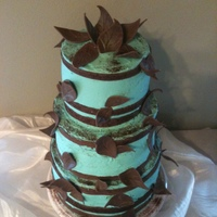 First Wedding Cake Chocolate cake with raspberry chocolate butter cream, chocolate fondant leaves. Baked 9 cakes in all for three tiers. They wanted Tiffany...