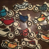 Motorcycle Cookies   We made over 400 of these for the PTO fundraiser for the Bikers for Babies motorcycle rally this weekend.