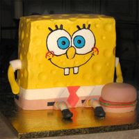 Spong Bob Made this for a boys 5th birthday. It's buttercream with fondant accents. Crabby patty is fondant.