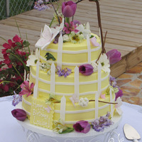Louise's Garden Buttercream, fondant accents, gumpaste hummingbird & butterflies, flowers are real