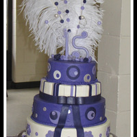 Lisa This is the largest cake I've done to date. Buttercream w/fondant accents....Feathers are real.