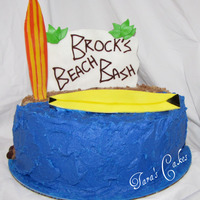Brock's Beach Bash eggless, dairyless (egg-free, dairy-free) cake.....Buttercream (without butter) & MMF accents