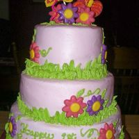Butterflies And Blossoms 3 tier FR Vanilla, 12, 8, 6 in Round, all torted and frosted in BC...grass borders in a cool lime to accent the pale pink background. The...