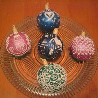 "Ornaments I decided to try the ornament cupcakes. I was inspired by Kraach ""pernicky""'s folk art designs that I have seen here on CC...."