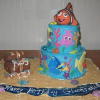 Nemo/under The Sea Two tiered dark chocolate cake w/cannoli filling iced in buttercream with fondant accents. Nemo and treasure chest are RKT covered in...