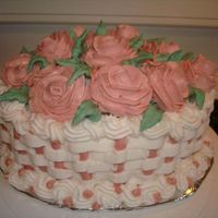 Birthday Cake   WASC cake with buttercream and whipped cream roses.