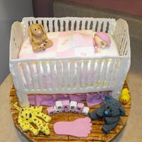 Baby Crib  First time with the crib, Thanks to other pics on here! White chocolate crib, everything else fondant. Also used the new sugar papers? for...
