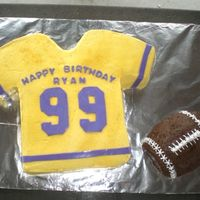 Football Jersey Cake   For my sons 13th birthday . 99 is his football #. Buttercream icing with fondany accents. TFL