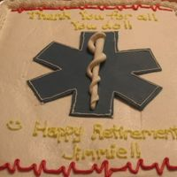 Thank You Ems This cake was for an employee appreciation day at our local EMS department. I added the heartbeat at the last minute and it was a great hit...