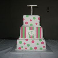 Stipes And Dots This is a wedding cake for a second marriage, they wanted a celebration. The colors were kiwi and fusha and they wanted a monogram and...