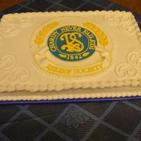 Relief Society Birthday Celebration Sheet Cake This cake is just a basic white half sheet cake with buttercream icing, fondant plaque, and royal icing accents. It was a challenge for me...