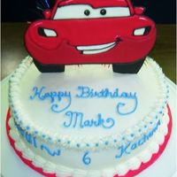 Nephew's Birthday This is a cars birthday cake for my nephew. I did the Lightning McQueen with colorflow. Hope he likes it!