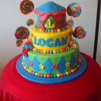 Circus Vanilla cake with Chocolate pudding, this was for a circus, candyland, carnival theme 1st b-day, it was fun to do.