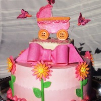 Pink Baby Carriage And Fun Flowers This is a lemon cake with lemon custard filling and lemon icing that will make you pucker! All flowers and decorations are made from...