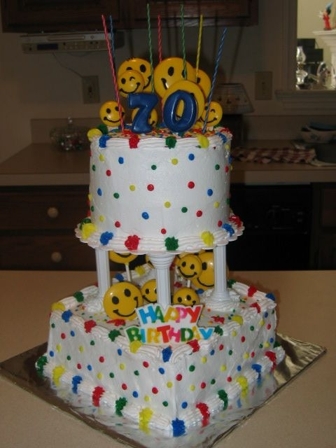 70Th Birthday With A Smile 70th Birthday for my father-in-law who works at Walmart. I told him I invited all his Walmart friends (the Smiley faces). Cake is double...