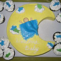 Moon & Stars Baby Shower Cake Yellow Cake with Buttercream ... baby, blanket, and stars are marshamallow fondant.