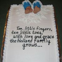 Baby Feet Cake This cake is made to match the baby shower invitation. All buttercream except for the blue fondant used for the babies pant legs. Babies...