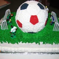 Soccer Time Double layer, half white, half choc. Soccer ball is Duncan Hines yellow cake mix with reduced oil for a firmer texture. (Everyone said this...