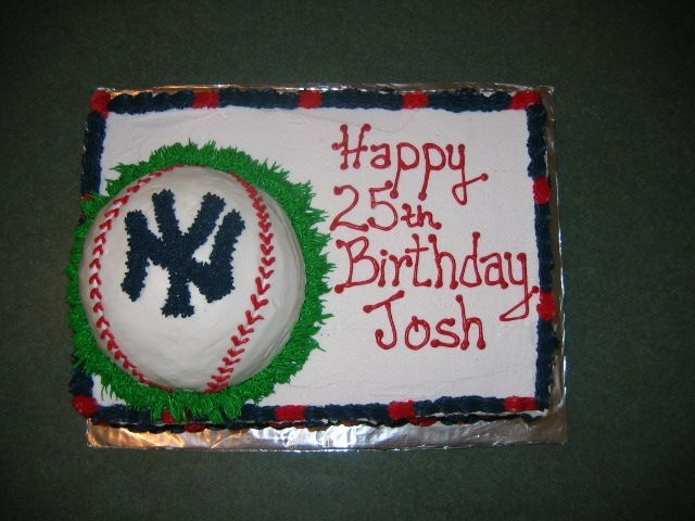 New York Yankees Half ball on top of sheet cake. All buttercream icing.