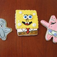Spongebob And Friends Cookies This was my first attempt at Spongebob cookies. I used NFSC and a combination of MMF, Antonia's royal icing and Wilton food writers.