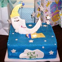Moon & Stars Baby Cake This is a cake that I did for a lady I work with. The cake was lemon with raspberry filling and buttercream icing. All of the decorations...