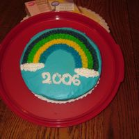 Course 1 Rainbow Cake I forgot to mix up red and did 2 kinds of blue - oops. It was fun learning the piping gel transfer though.