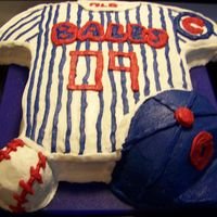 Baseball Cake   Cubs cake. Chocolate cake with buttercream icing.