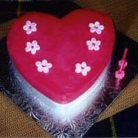 2Nd Birthday Cake Just a loveheart, covered with hot pink buttercream, and small marshmallows cut in half to create the flowers. Very very simple.