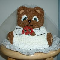 Bridal Shower Bear I made this for my niece.I was rushed for time so the flowers are fake and the veil is material type stuff.