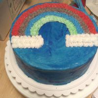 Wilton Class 1 Cake I used a new method with this cake I wanted to give it a marbleized real sky look. I put the coloring on both sides of my knife and mixed...