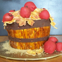 Autumn Apple Basket Bushel basket of apples. Fondant and cake.